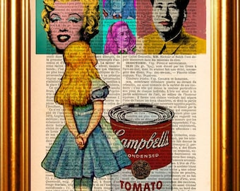 Alice meets Andy Warhol's Marilyn Monroe,Chairman Mao Campbells Soup Can & Herself on upcycled 1890's French Dictionary Mixed Media Original