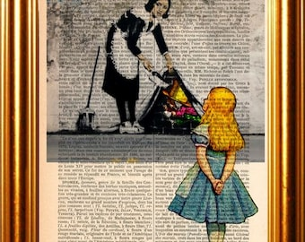Alice meets Banksy's Maid with the Madhatter hiding under fold  on upcycled 1890 French Dictionary  Page mixed media original digital print