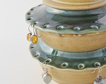 Double Decker Jewelry Holder, Hand Thrown Earring Bowl, Ceramic Jewelry Box, Ring Holder, Made to Order