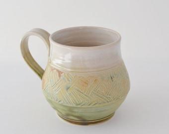 Matt Green and Tan Ceramic Mug with Handle for Tea or Coffee, Stoneware Mug, Made to Order