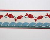 Full Vintage Wallpaper Border- TRIMZ - Red and Blue Fish - Ocean Nautical Sea Pattern - Bathroom