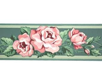 Full Vintage Wallpaper Border - TRIMZ -  Pink Roses on Green - Floral Border