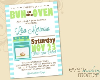 Baby Shower Invitation -- Bun in the Oven -- There's a bun in the oven-- Baby Boy-- Baby Shower Invite