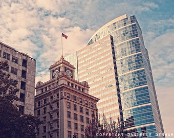Portland Oregon Photo Pioneer Courthouse Square Pastel--Fine Art Lomography 8x12