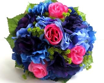 Silk Bridal Bouquet - Faux Bouquet - Artificial Bouquet - Pink, Purple, Blue and LIme Green Bouquet - Matching Boutonniere Included