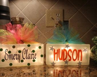 Light Up Glass Block - Children's Room Decor - Vinyl Lettering Glass Block- Night Light
