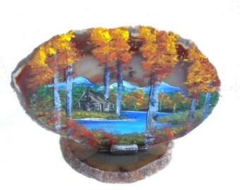 Hand Painted Brazilian Natural Agate Tea Light Holder Mountain Fall Aspens and Log Cabin