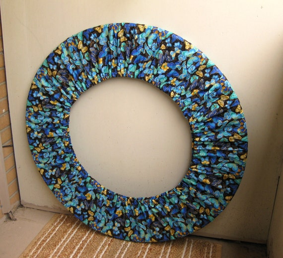 Hula Hoop Holder Bag Cover Blue Teal Yellow Butterflies Travel Storage Hooping Festival Accessory