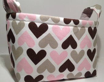 Fabric Storage Basket Bin Organizer Storage Container-Pink, Taupe and Brown Hearts with Solid Light Gray Interior