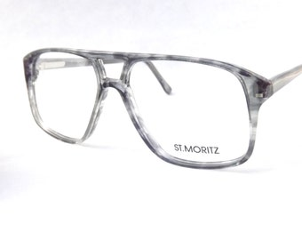 Tortoise Aviators, Big Boxy Mens Eyeglasses, Vintage Gray Flexible Temple Arm Glasses, New Old Stock Frames
