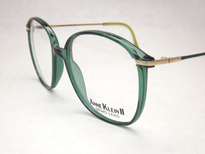 Eyeglasses Frames Green : Green Womens Eyeglasses Huge Designer Frames Vintage 1980s