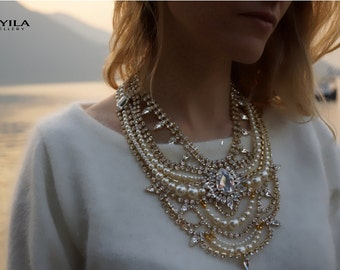 Scheherazade - Magnificent Swarovski Crystals and Pearls Wedding Necklace, Statement Necklace - Ready to Ship