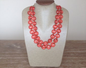 Coral Gem Statement Necklace