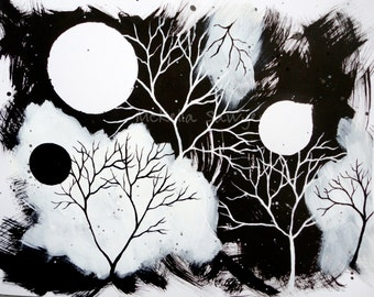 """Blizzard-11""""x14"""" ink and acrylic on paper-Black and white trees and moons-Tree Art-Tree Painting"""