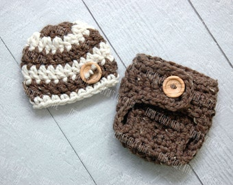 Newborn baby boy hat and diaper cover set, newborn boy photo prop, boy coming home outfit, baby boy clothes, crochet baby boy hat,