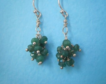 Faceted Emerald Cluster Earrings