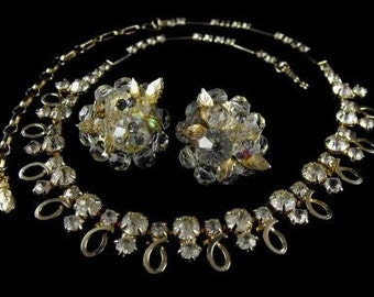 Emmons Rhinestone Necklace Vendome Clip On Earrings Vintage Jewelry