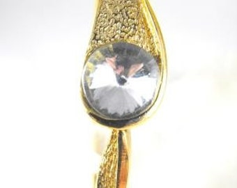 Vintage Bracelet Single Large Rivoli Crystal Rhinestone Dove Grey Pink Clear