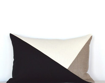 Side Envelope Modern Colorblock Pillow Cover - Black / Natural Combo