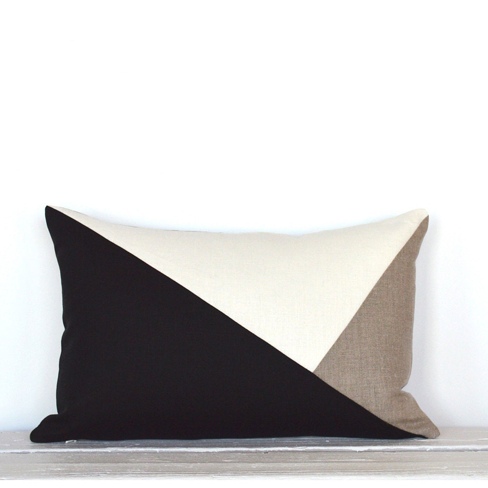 Side Envelope Modern Colorblock Pillow Cover Black / Natural