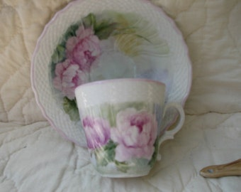 Peonies hand painted on a Porcelain Cup and Saucer/Mother's Day gift