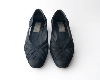Vintage mesh suede black women shoes / low heel
