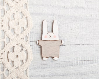 Bunny Brooch, Laser Cut Wood Pin, Gray Brooch Great for a Mother's day gift, Kids Jewelry, Bunny Pins, Girlfriend Gift, Gift Sister