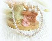 FREE SHIP SWAROVSKI Baptism flowergirl Christmas newborn baby girls childs handmade white pearl cross necklace