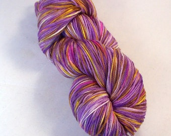 Purple Tweet on Nub 100% SW Merino Hand dyed fingering weight sock yarn
