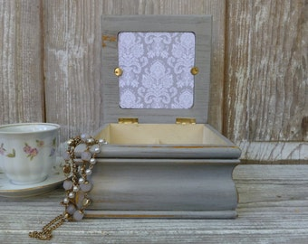 Upcycled Grey Distressed Jewelry Box