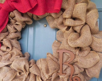 Burlap Wreath With Large Burlap Bow and Monogram Letter - X-Large 25 inch - Tan Burlap Wreath
