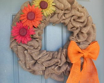 Burlap Wreath - Sunflower Wreath with Burnt Orange Bow - Harvest Wreath- Summer Wreath