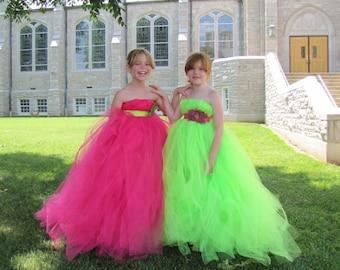 Girls Lime flower girl dress, Fuchsia Flower girl dress