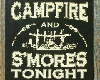 Campfire and S'mores Retro Style Wood Sign