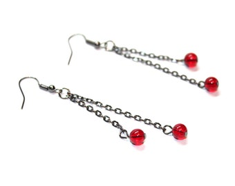 Long dangle earrings in black and red, gun metal beaded earrings with chain, more colors available