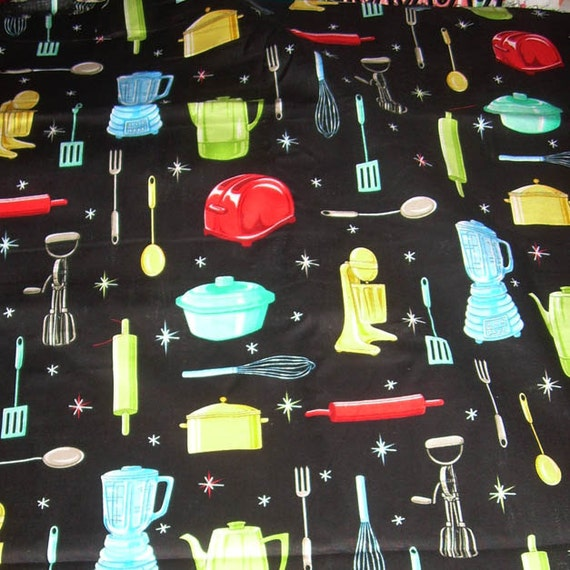 Retro Kitchen Appliances Cotton Print By Fabric Traditions