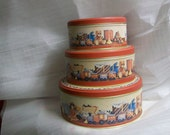 "Christmas Tins 8 "" 5 1/2 "" and 5 ""  Set of 3 Vintage 80s Collectible tines"
