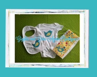 Baby Shower/New Baby Gift Set - Little Bird Polka Dot Gift Set - Includes Onesie, Bib and Burp Cloth