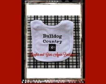 "UGA - ""Bulldog Country"" Embroidered  and Appliqued Baby Bib"