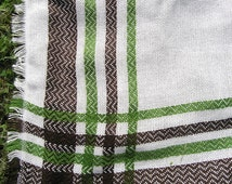 Vintage Woven Tablecloth or Blanket, Mid Century Green Brown Striped White Tablecloth, Retro 1960s 1970s Knit Tablecloth or Blanket