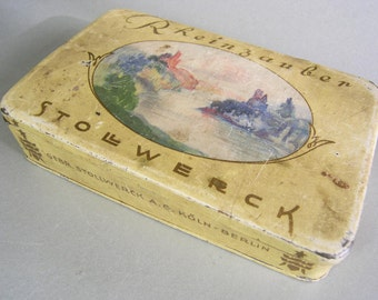Vintage Metal Chocolate Tin, Antique 1950s 1960s Chocolate Tin, Rheinzauber Stollwerck Chocolate Company, Cologne and Berlin