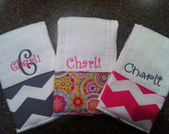 Personalized Burp Cloths for Girls-Set of 3