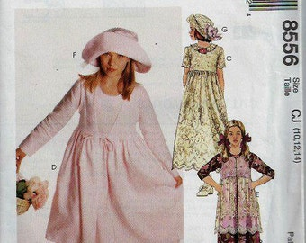 Girls Empire waist Dress With Tunic and Wide Brim Hat Pattern, McCall's 8556, Size 10-14 Uncut
