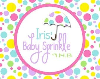 Printable Polka Dot & Umbrella Baby Sprinkle Favor Tag