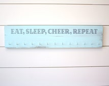 Cheerleading Medal and Bow Holder - Eat, Sleep, Cheer, Repeat - Large