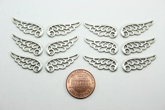 12 pcs Tibetan Antique Silver Angel Wing Charms - 24mm long