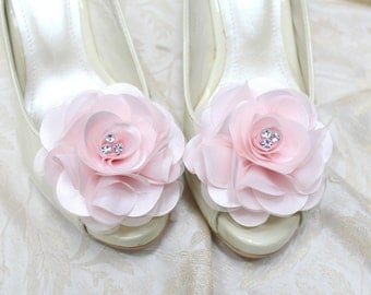 Wedding shoe clips, bridal shoe clips, pink satin shoe clips, flower girl shoe clips, wedding shoe clips