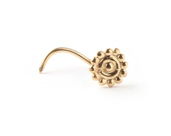 NOSE STUD - Gold flower nose ring 14 karat - gold stud- A delicate 14K  Yellow Gold Nose Ring - nose jewelry