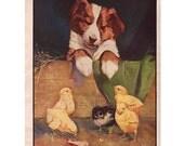 Nursery Art, Vintage Animal Print, Farmhouse Decor, 1933 Illustration, Baby's Room Decor, Puppy Picture, Donkey & Goat, Double Sided