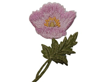 ID #6485 Pink Wildflower Flower Plant Iron On Embroidered Patch Applique